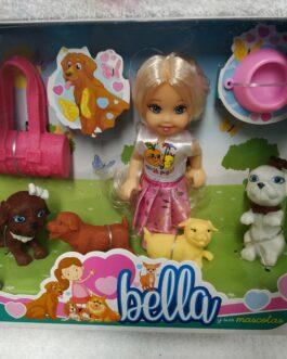 Muñeca Bella con mascotas